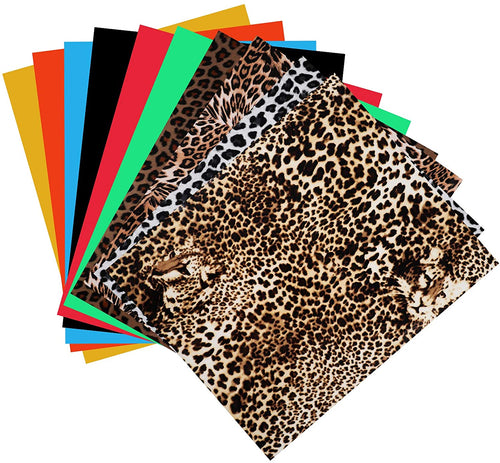 (K891)VILUX HTV Heat Transfer Vinyl Bundle,10 Pack Iron on Vinyl for Cricut, Silhouette Cameo,6 Assorted Colors and 4 Leopard Print HTV Vinyl