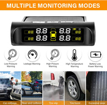 Load image into Gallery viewer, (K486)Zmoon TPMS Car Tire Pressure Monitoring System with Solar Power Universal Wireless LCD Display and 4 External Sensors Real