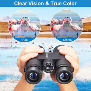(Y053)Binoculars for Adults and Kids, 12x42 Compact Binoculars with Low Light Night Vision, Large Eyepiece Waterproof Binocular for Bird Watching, Theater and Concerts