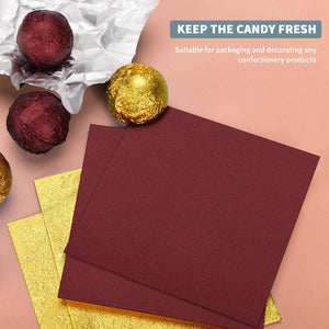 (G197) 200pcs Chocolate Candy Wrappers Aluminium Foil Paper for Party Wedding Birthday Christmas DIY Sugar Sweeties - Gold (100pcs) and purplish red (100pcs), 3.93 x 3.93 inch