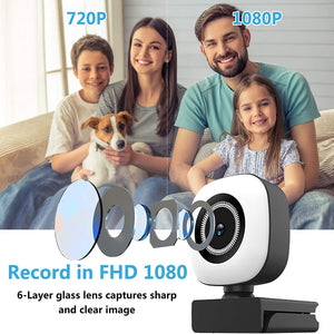(D989)8AM 1080P Webcam with Privacy Cover, Ring Light and Tripod, Built-in Microphone, Auto Focus USB Web Camera for Computer and Laptop Perfect