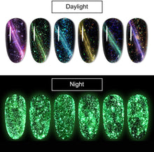 Load image into Gallery viewer, (T023) HOMOST Glow in The Dark Cat Eye Gel Nail Polish Set, 6PCS Magnetic Gel Nail Polish Set with Magnet
