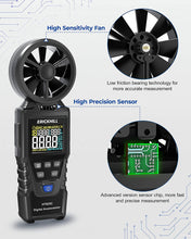 Load image into Gallery viewer, (C379)ERICKHILL Anemometer Handheld Digital Wind Speed Meter Measuring Air Volume and Dew Point Wet Bulb Temperature Humidity Air Flow Tester