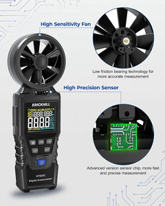 (C379)ERICKHILL Anemometer Handheld Digital Wind Speed Meter Measuring Air Volume and Dew Point Wet Bulb Temperature Humidity Air Flow Tester