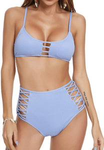 (X181)CzDolay Bikini Swimsuits Womens Strappy Two Piece Bathing Suits High Waisted Lace Up Swimwear S-XL