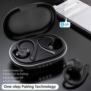 (Q178) Muzili G4 Wireless Earbuds, in-Ear Bluetooth Headphones with Immersive Bass Sound, Bluetooth 5.0, 36H Playtime,IPX7 Waterproof Sport Earbuds with Removable Ear Hook,