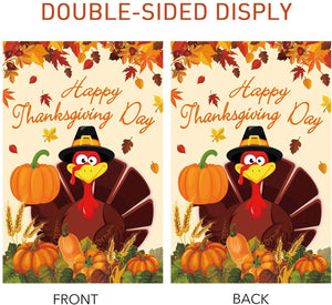 (T672)MAIAGO Thanksgiving Decorative Burlap Garden Flag - Double Sided Turkey House Flags - Fall Turkey Pumpkins Maple Leaves Banners Rustic Vintage Yard Outdoor Decoration