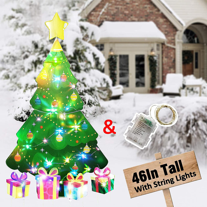 (T467)HOSKO Christmas Tree Decor, 46inch Xmas Yard Signs Stakes with String Lights, Xmas Decorations