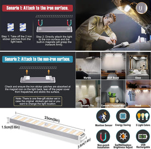 (H101)Upgraded 132 LED Closet Light,Motion Sensor Light Under Cabinet Lighting Rechargeable Dimmable LED Closet Night Lights, Large Capacity Battery Lights