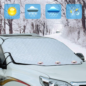 (E864)Windshield Snow Ice Cover Winter Frost Cover for Car Wind-Proof Magnetic Edge Keeps Ice Snow Frost Off Fits Most Vehicle
