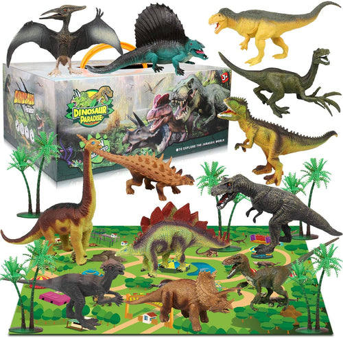 (Q523)Dinosaur Figure Toys Set with 12Pcs Realistic Dinosaur Figures, 31.5 x 27.5 Inch Large Flannel Activity Play Mat & Trees, Indoor Outdoor Educational Playset Toys