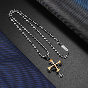 (G245)VXGold Cross Necklace for Men Women, 18K Gold Plated + 2.55 carats Facet Nature Onyx Stone, Quality Pendant on Ball Chain, 20inch 22inch 24inch
