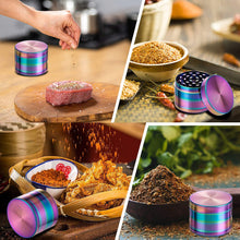 Load image into Gallery viewer, (Y134)4 Piece 2 Inch Herb Grinder Zinc Alloy Metal Spice Grinder with Pollen Catcher - Rainbow Color