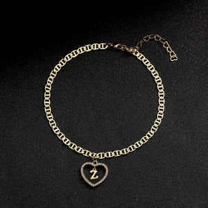 (Q491)Estendly Initial Anklet 14K Gold Plated Cubic Zirconia Heart Mariner Chain Ankle Bracelets 26 Letters Alphabet Foot Jewelry Gift for Women