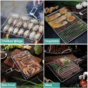 (T310)BBQ Grill Basket, Stainless Steel Kabob Grilling Basket with Removable Handle, Portable Outdoor Grill Accessories for Vegetable, Meat, Shrimp, Fish