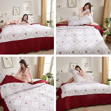 Load image into Gallery viewer, (Y071)Oliven Quilts Full/Queen Size,Reversible Bedspreads Full/Queen Size,Embroidered Coverlet Set Burgundy&White,3 Piece(1 Quilt + 2 Pillow Shams)