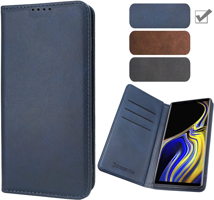 (A987)D DESSVON Samsung Galaxy Note 9 Wallet Case Blue, Note 9 Strong Magnet No Buckle Flip Folio Leather Case in Business Style, Fashion Samsung Galaxy Note 9 Protective Case