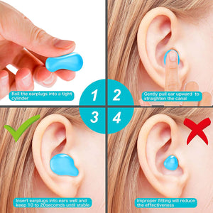 (Y012)[Latest 2020] Ear Plugs for Sleeping & Swimming -8 Pair Reusable Silicone Moldable Noise Cancelling Earplugs