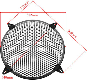 (K792)12 inch Speaker Grill-Subwoofer Grille -Steel Speaker Covers Waffle Speaker Woofer Grill Black with 4pcs Grill Clamps and 4pcs Screws