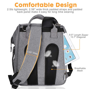 (K360)Diaper Bag with Changing Station, Baby Diaper Bag, Backpack Diaper Bag, Baby Bag with Built-in USB Charging Port and Stroller Straps Large Capacity Waterproof (Grey)