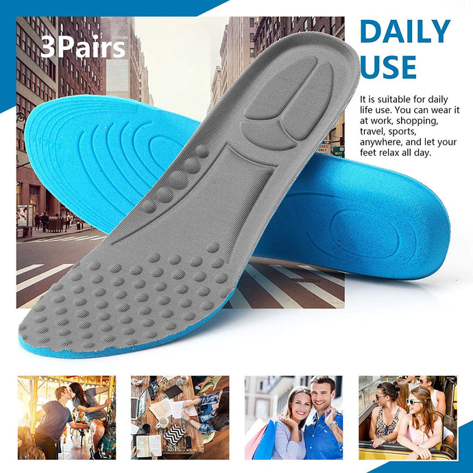 (G255)3 Pairs Shock Absorbing Insoles for Men, Full Length Massage Cushion Insoles Boot Replacement Inserts Shoe Pads