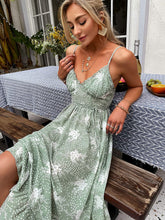 Load image into Gallery viewer, (M631)GRACEVINES Women's Summer v Neck Floral Print Spaghetti Strap Midi Sundress Boho Ruffle Swing High Waist Long Dress