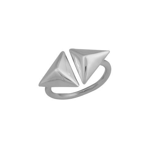 Sterling Silver Floating Pyramid Ring