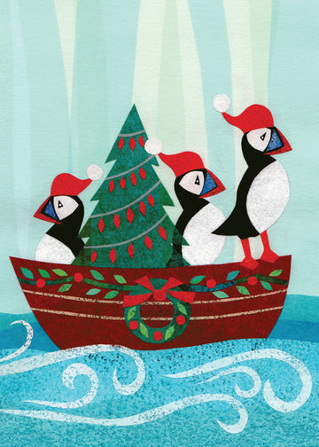 Puffins in a Boat Boxed Holiday Cards