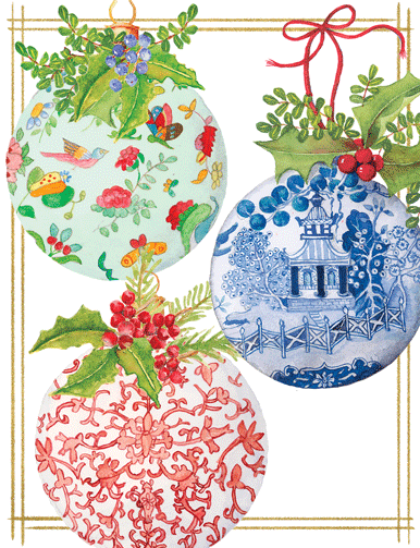 Porcelain Ornaments Boxed Cards