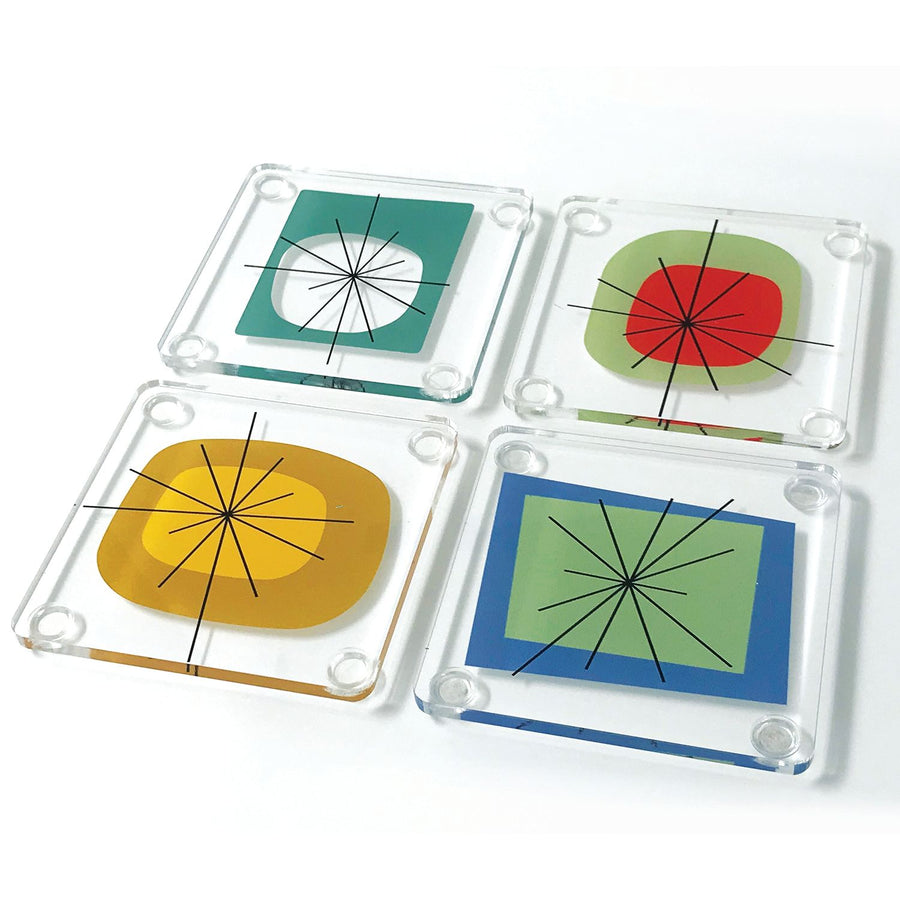 Atomic Design Acrylic Coaster Set In Stand
