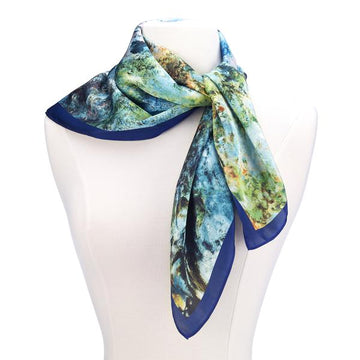 House at Giverny Viewed From the Rose Garden Square Satin Chiffon Scarf