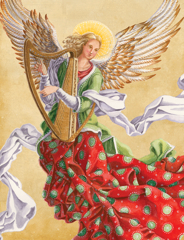 Angel with Harp Holiday Boxed Cards