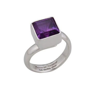Sterling Silver Amethyst Square Ring