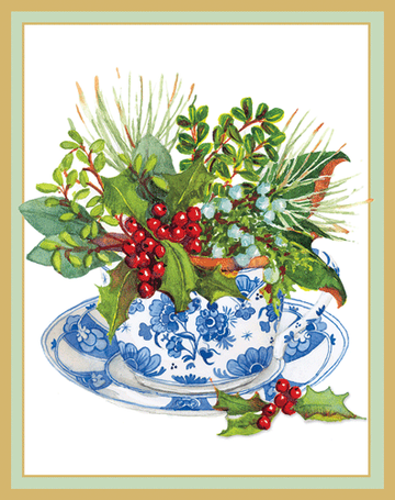 Greenery in a Tea Cup Boxed Holiday Cards