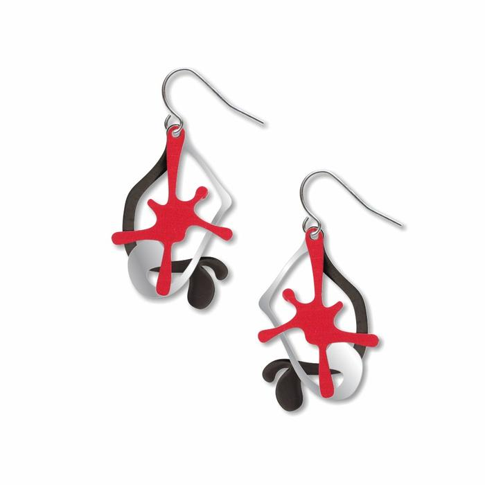 Paint Splatters Earrings in Red, Silver, and Black