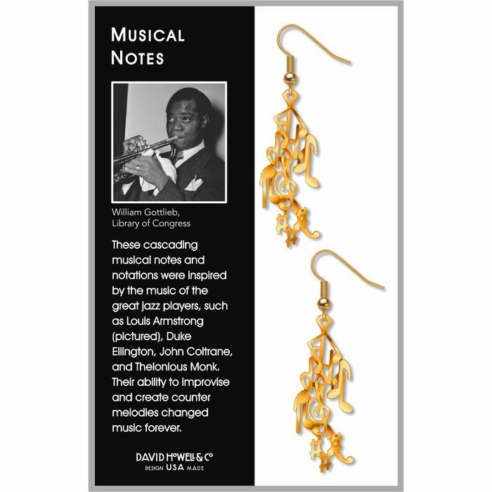 Musical Notes Earrings, Gold