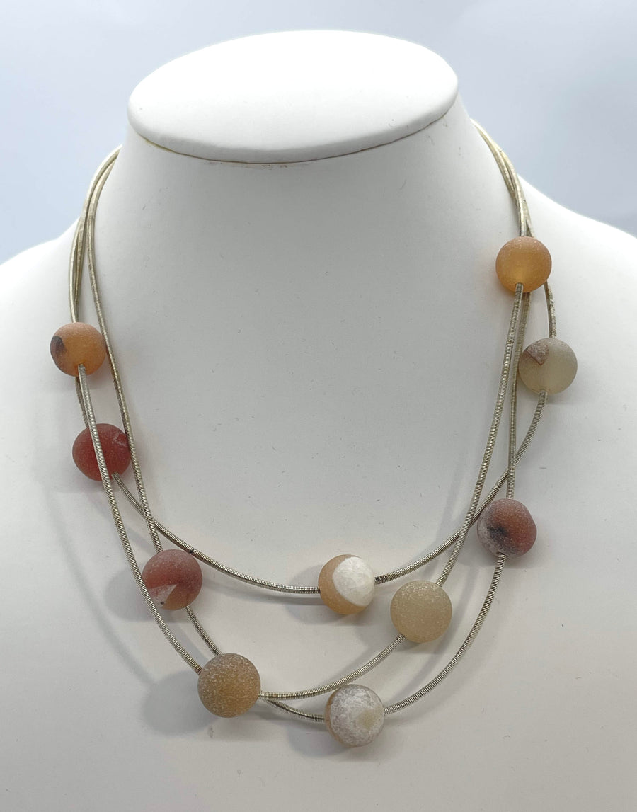 3 Strand Necklace with Apricot Beads