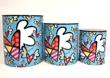 Romero Britto Flying Hearts 3-Piece Canister Set