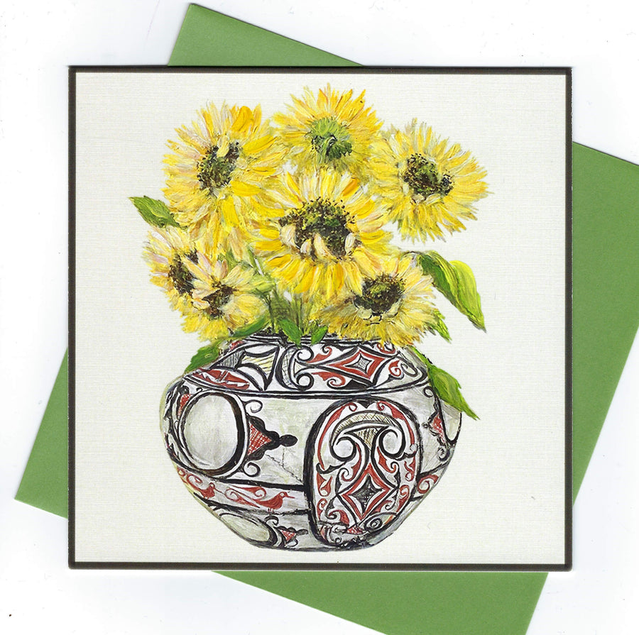 POPJOY Notecard Pueblo Vessel with Sunflowers