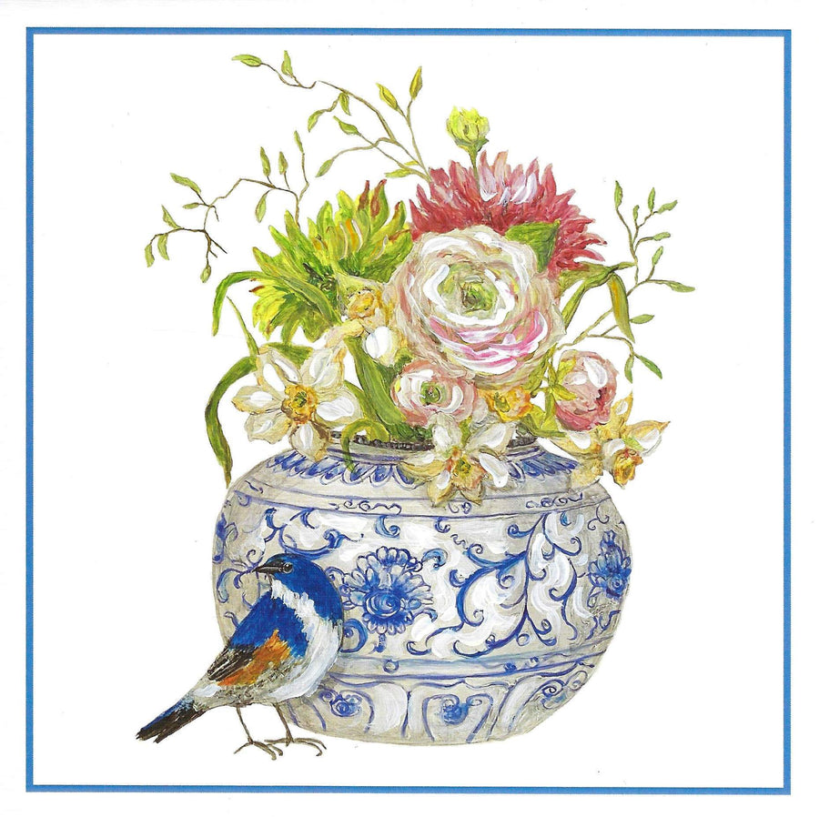 POPJOY Notecard Asian Jar with Peonies and Blue Finch