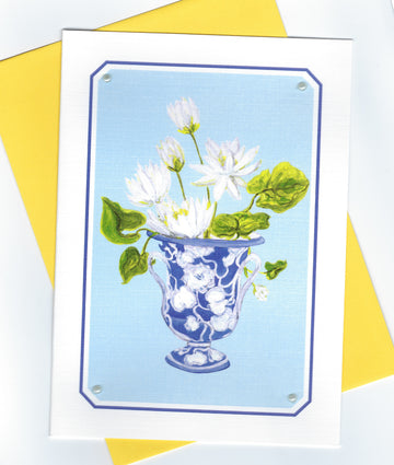 POPJOY Notecard White Lilies on Blue