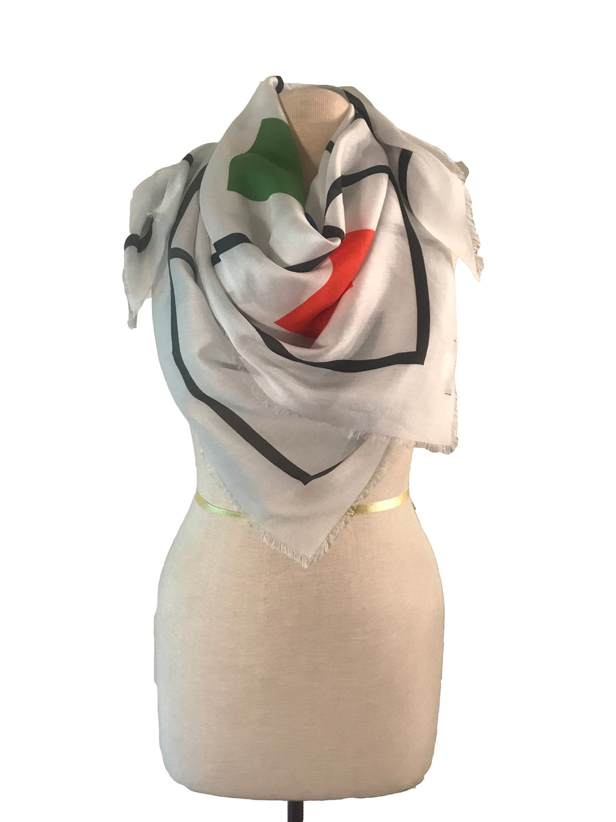 Square Grid Silk and Modal Scarf