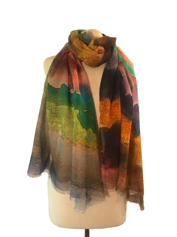 Watercolor Stripe Scarf