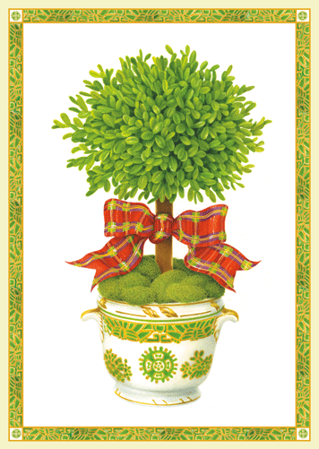 Topiary with Ribbon Boxed Holiday Cards