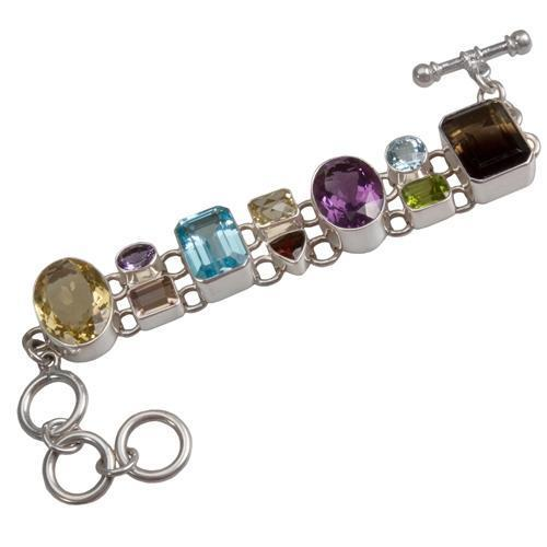 Sterling Silver Multi-Gemstone Bracelet