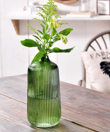 Green Glass Round Vase