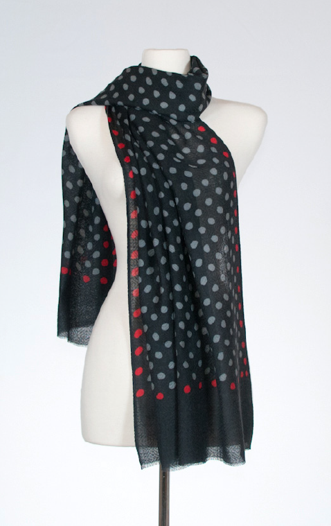 Mod Polka Dot Merino and Silk Scarf