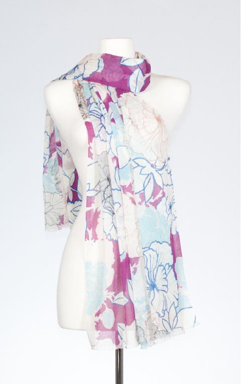 Hibiscus Cotton Scarf