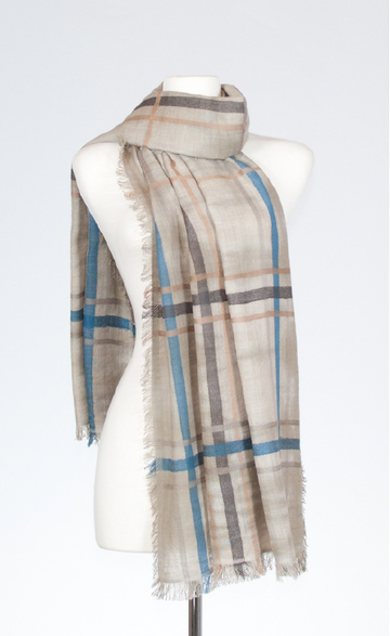 Cotton Stole with Tie-Dye & Plaid Design in Limestone