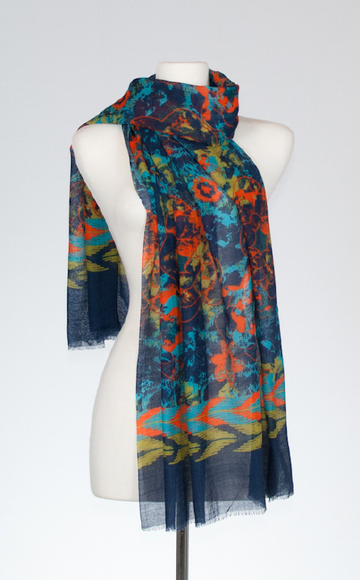 Bohemian Merino and Silk Scarf in Turquoise